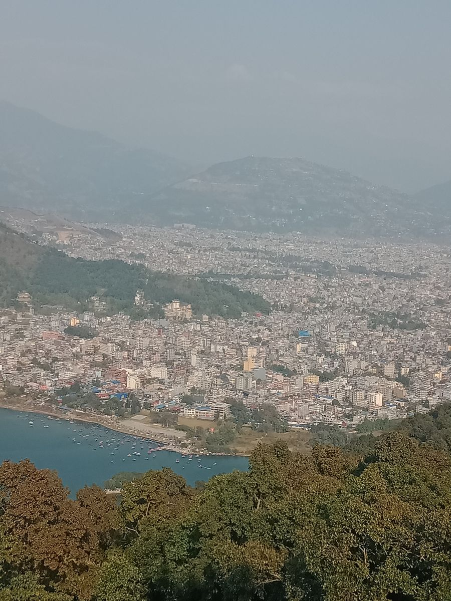 View of Pokhara on the way to Peace Pagoda