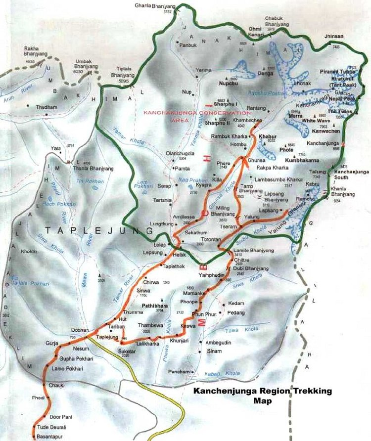 Kanchenjunga South Base Camp Route Map