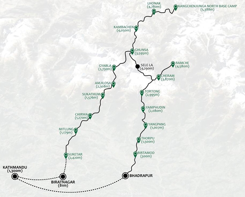 Kanchenjunga North Base Camp Route Map