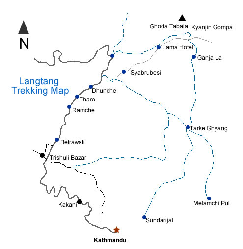 Langtang Valley Trek Route Map