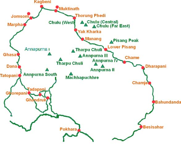 Annapurna Circuit Trek Route Map