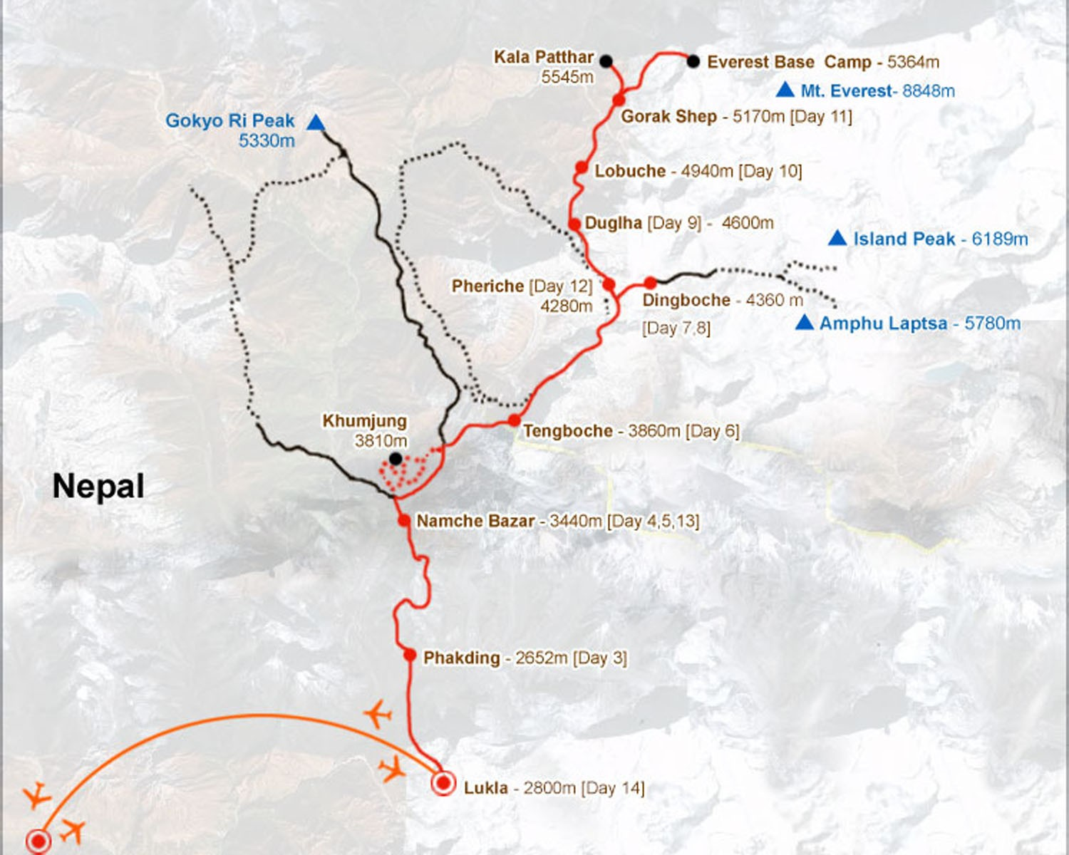 Everest Base Camp, Cho-La Pass & Gokyo Trek Route Map