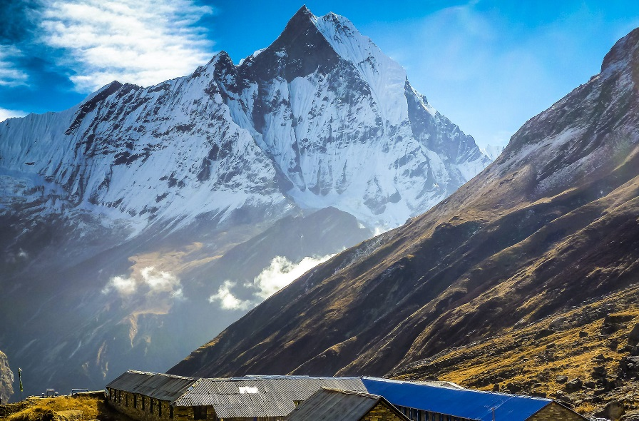 Machhapuchhre base camp height 3710m  and view of machhapuchre